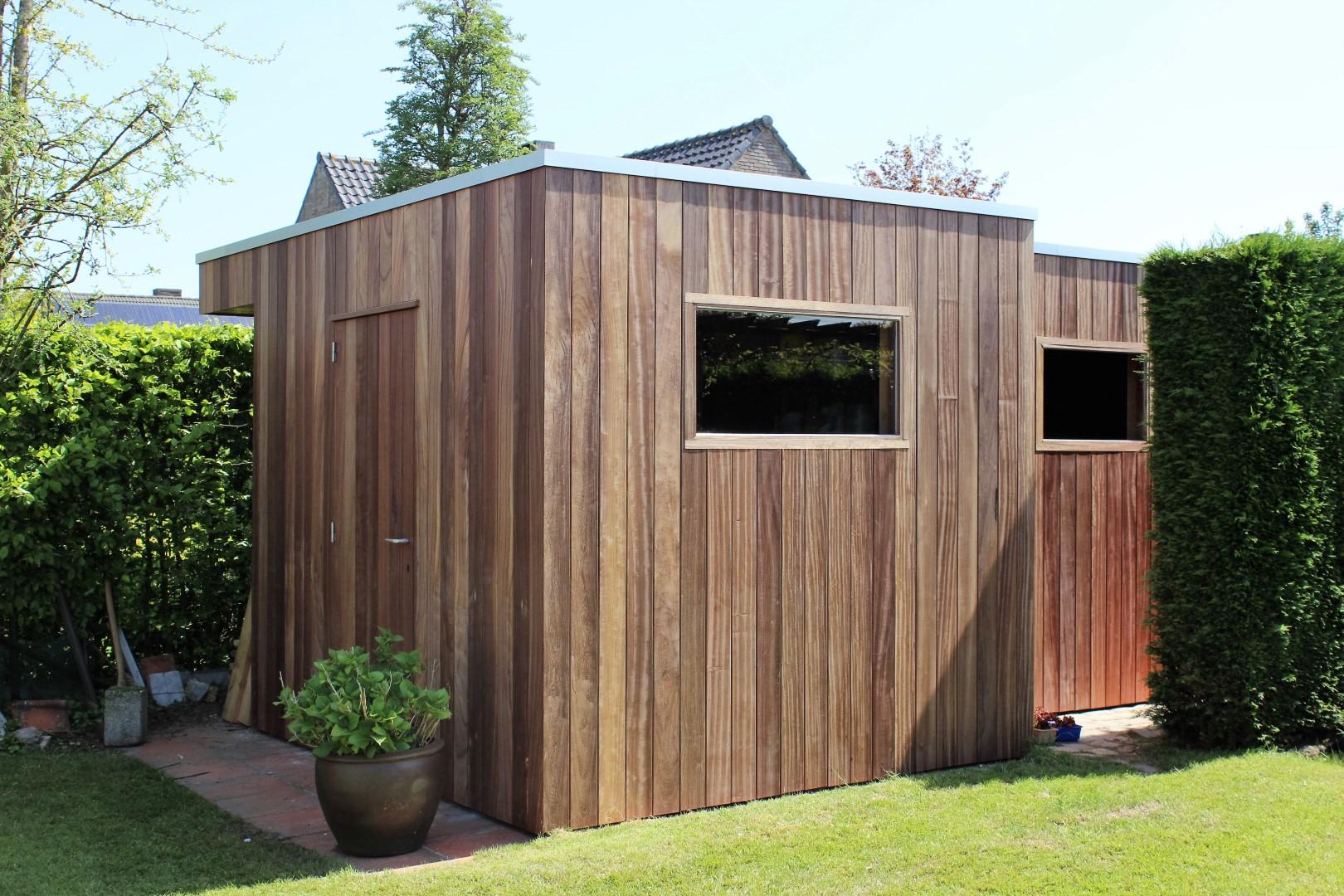 GB Construct, Tuinhuis, Bijgebouw, Schrijnwerken, Padouk planchetten, EPDM dakbedekking